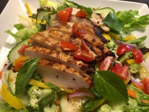 Grilled Thai Chicken Salad with Red Curry Dressing